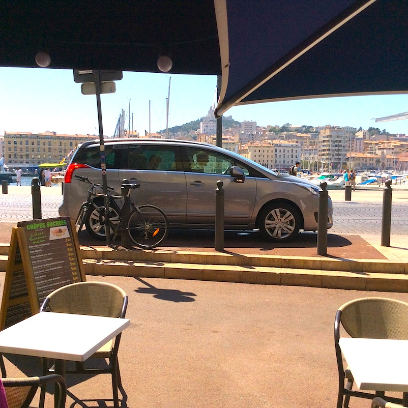 car parked at harbour